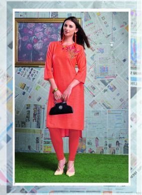Orange Ceremonial Party Wear Kurti