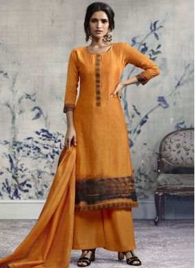 Orange Chanderi Party Designer Palazzo Suit