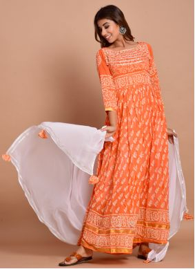 Orange Cotton Ceremonial Designer Gown