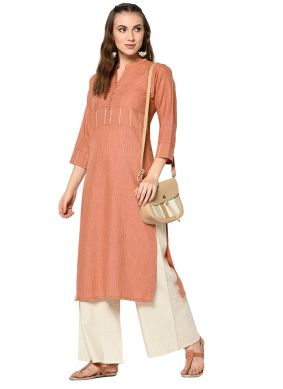 Orange Cotton Designer Kurti