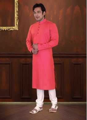 Orange Cotton Festival Kurta Pyjama