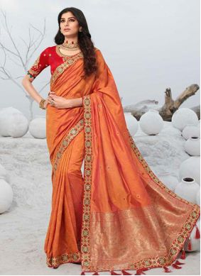 Orange Embroidered Ceremonial Designer Saree