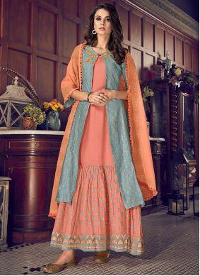 Orange Embroidered Chanderi Silk Designer Suit