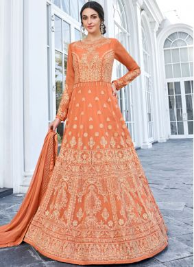 Orange Embroidered Faux Georgette Floor Length Anarkali Salwar Suit