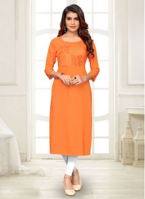 Orange Embroidered Party Wear Kurti