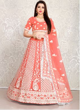 Orange Faux Crepe Lehenga Choli