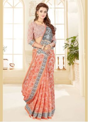 Orange Festival Cotton Designer Saree