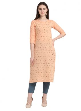 Orange Foil print Cotton Casual Kurti