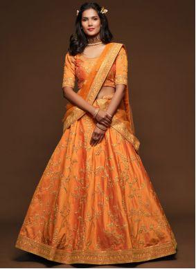 Orange Art Silk Embroidered Lehenga Choli