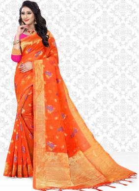 Orange Party Classic Saree