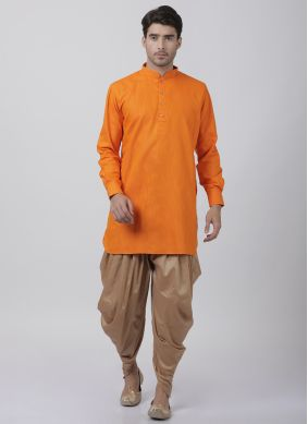 Orange Plain Dhoti Kurta