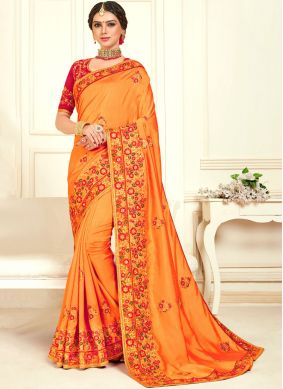 Orange Poly Silk Designer Bridal Sarees