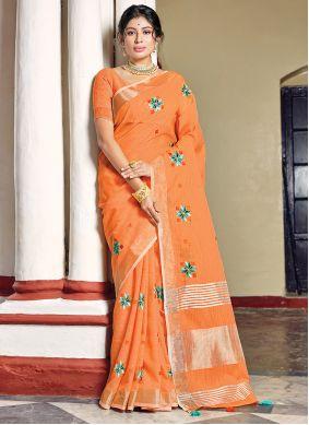 Orange Printed Ceremonial Classic Saree
