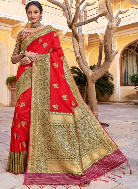 Orange Reception Banarasi Silk Trendy Saree