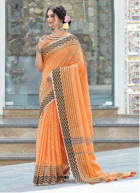 Orange Weaving Linen Designer Traditional Saree