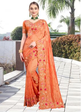 Orange Wedding Contemporary Saree