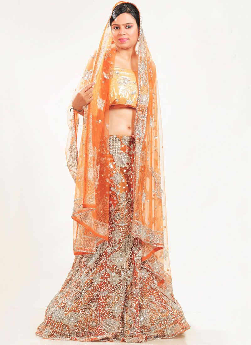 Orange Wedding Net Lehenga Choli