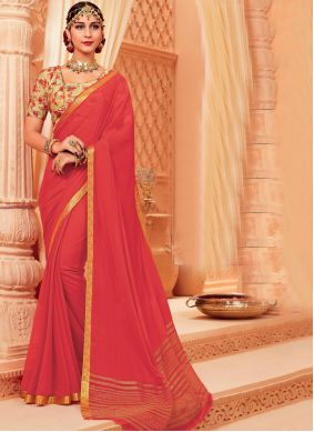 Orange Woven Faux Chiffon Contemporary Saree