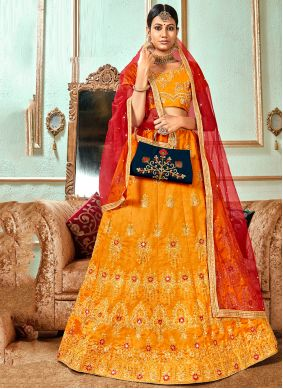 Orange Zari Banglori Silk Lehenga Choli