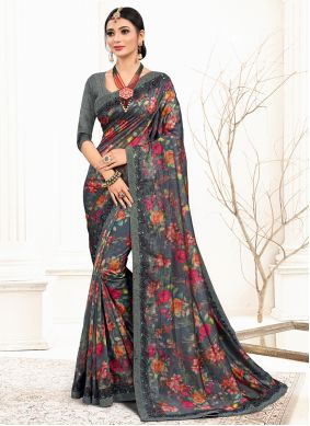 Grey Organza Embroidered Classic Designer Saree
