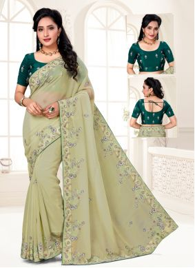 Organza Embroidered Green Designer Saree