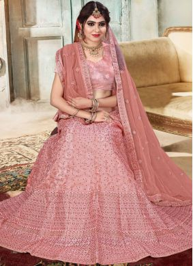 Organza Embroidered Pink Lehenga Choli