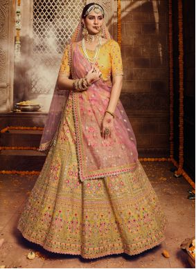 Organza Embroidered Yellow Trendy Lehenga Choli