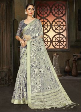 Organza Fancy Grey Designer Saree