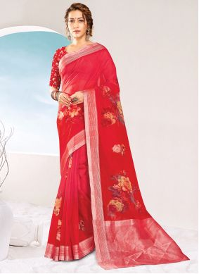 Organza Red Printed Saree For Party Wear