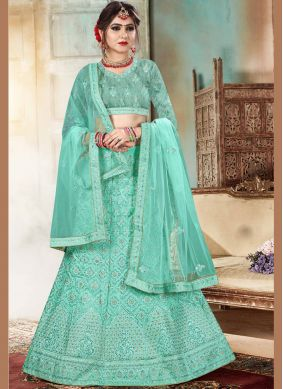 Organza Sea Green Lehenga Choli