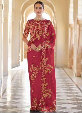 Red Organza Sequins Classic Designer Saree