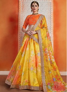 Organza Zari Orange and Yellow Trendy Lehenga Choli