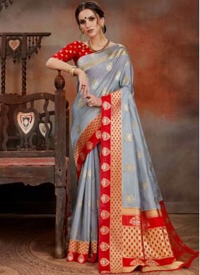 Orphic Art Silk Grey Traditional Saree