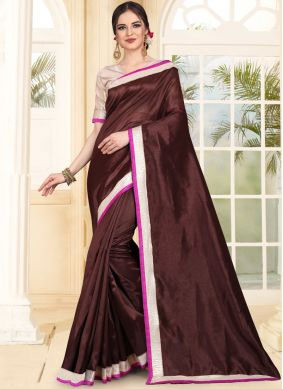 Orphic Brown Patch Border Art Silk Traditional Saree