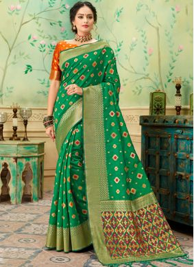 Orphic Green Weaving Classic Saree