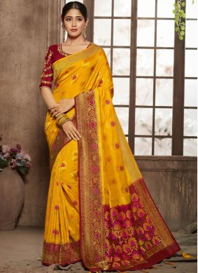 Orphic Jacquard Silk Yellow Designer Traditional Saree