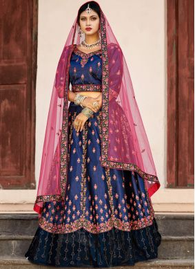 Orphic Satin Patch Border Lehenga Choli