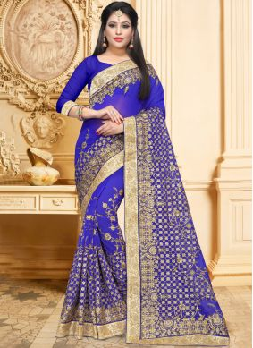 Outstanding Blue Embroidered Classic Saree