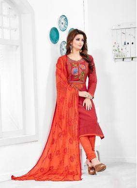 Paisley Print Chanderi Cotton Red Salwar Kameez