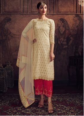 Palazzo Designer Salwar Kameez Embroidered Jacquard in Off White