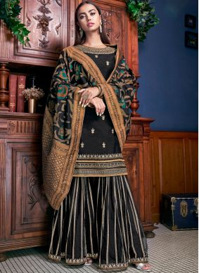 Palazzo Designer Suit Embroidered Silk in Black