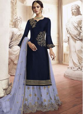 Palazzo Salwar Kameez Embroidered Faux Georgette in Navy Blue