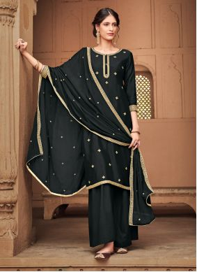 Palazzo Salwar Kameez Embroidered Silk in Black