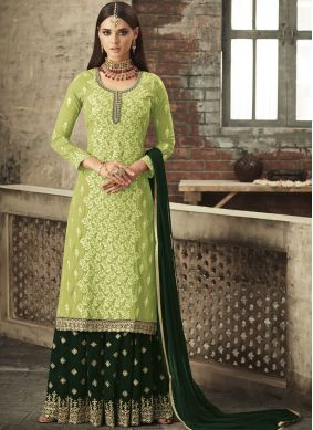 Palazzo Salwar Suit Embroidered Faux Georgette in Green