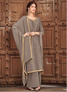 Palazzo Straight Suit Embroidered Silk in Grey