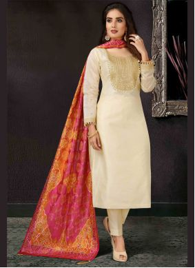 Pant Style Suit Embroidered Art Silk in Beige