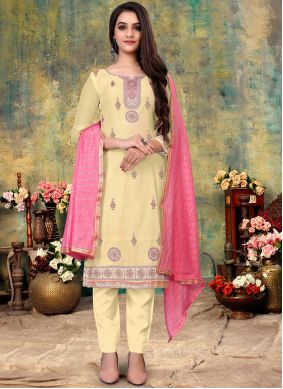 Pant Style Suit Embroidered Chanderi in Off White