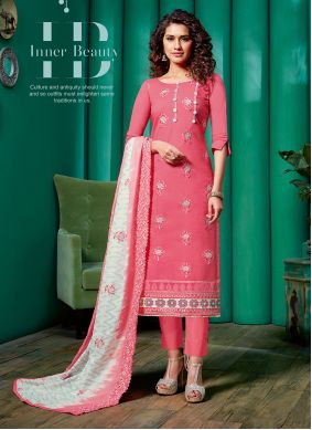 Pant Style Suit Embroidered Cotton in Pink