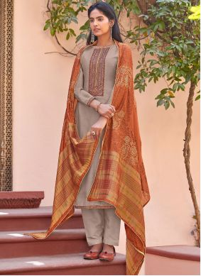 Pant Style Suit Embroidered Cotton Silk in Grey