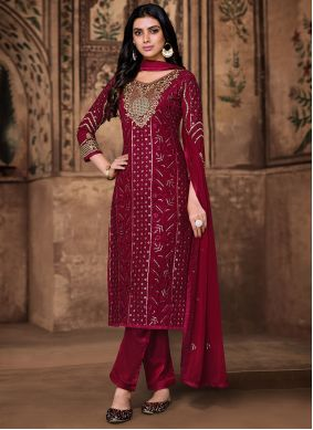 Pant Style Suit Embroidered Georgette in Wine